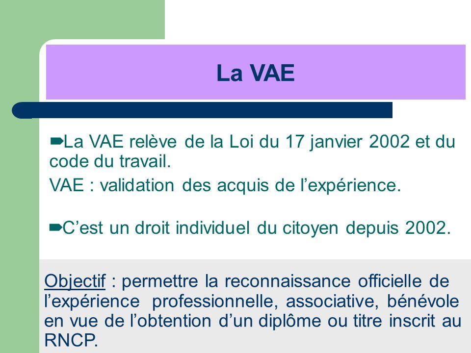 La VAE La VAE relève de la Loi du 17 janvier 2002 et du code du travail. VAE : validation des acquis de l'expérience.