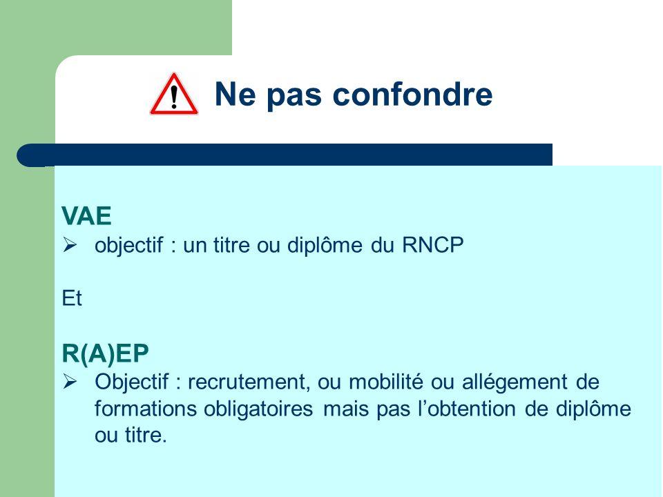 Ne pas confondre VAE R(A)EP objectif : un titre ou diplôme du RNCP Et