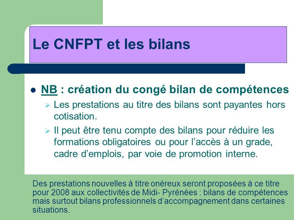 Le CNFPT et les bilans NB : création du congé bilan de compétences