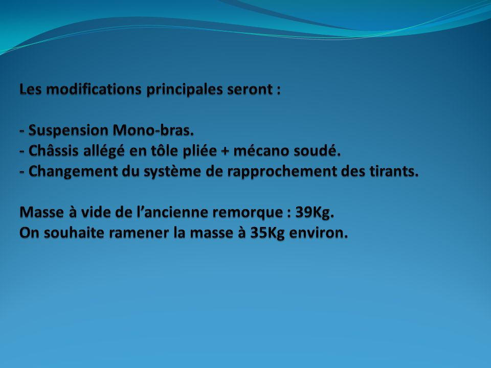 Les modifications principales seront : - Suspension Mono-bras
