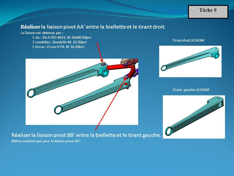 Réaliser la liaison pivot AA entre la biellette et le tirant droit.
