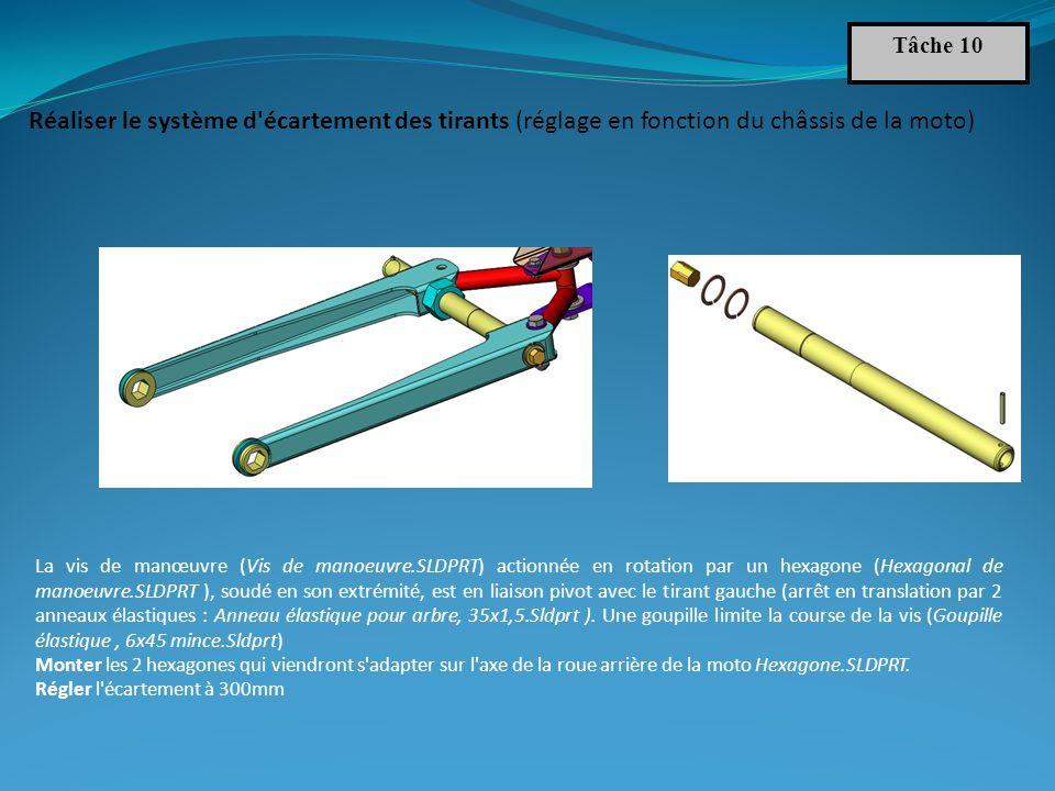 Tâche 10 Réaliser le système d écartement des tirants (réglage en fonction du châssis de la moto)