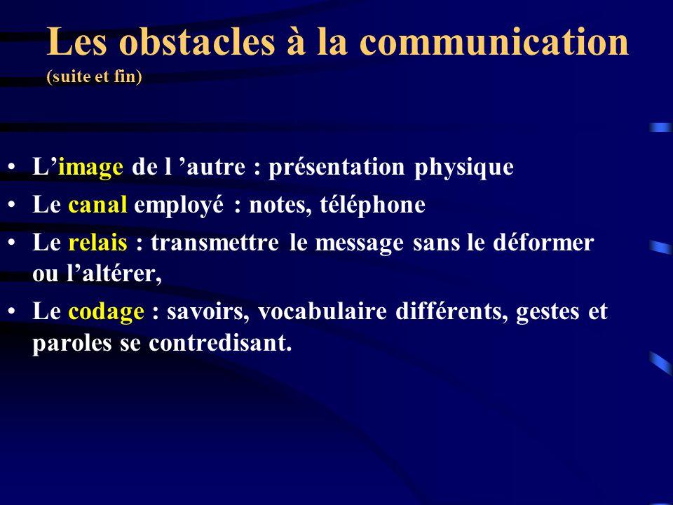 Les obstacles à la communication (suite et fin)