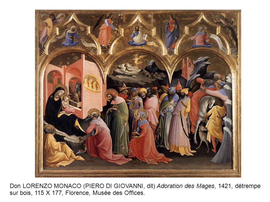 Don LORENZO MONACO (PIERO DI GIOVANNI, dit) Adoration des Mages, 1421, détrempe sur bois, 115 X 177, Florence, Musée des Offices.