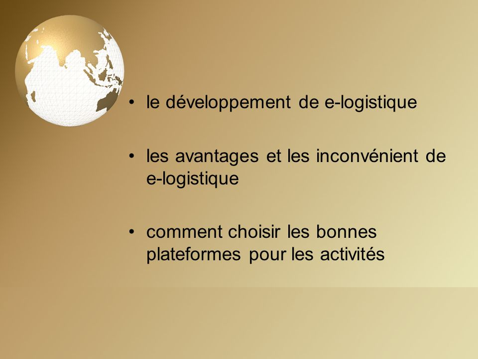 le développement de e-logistique