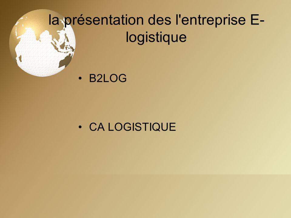 la présentation des l entreprise E-logistique