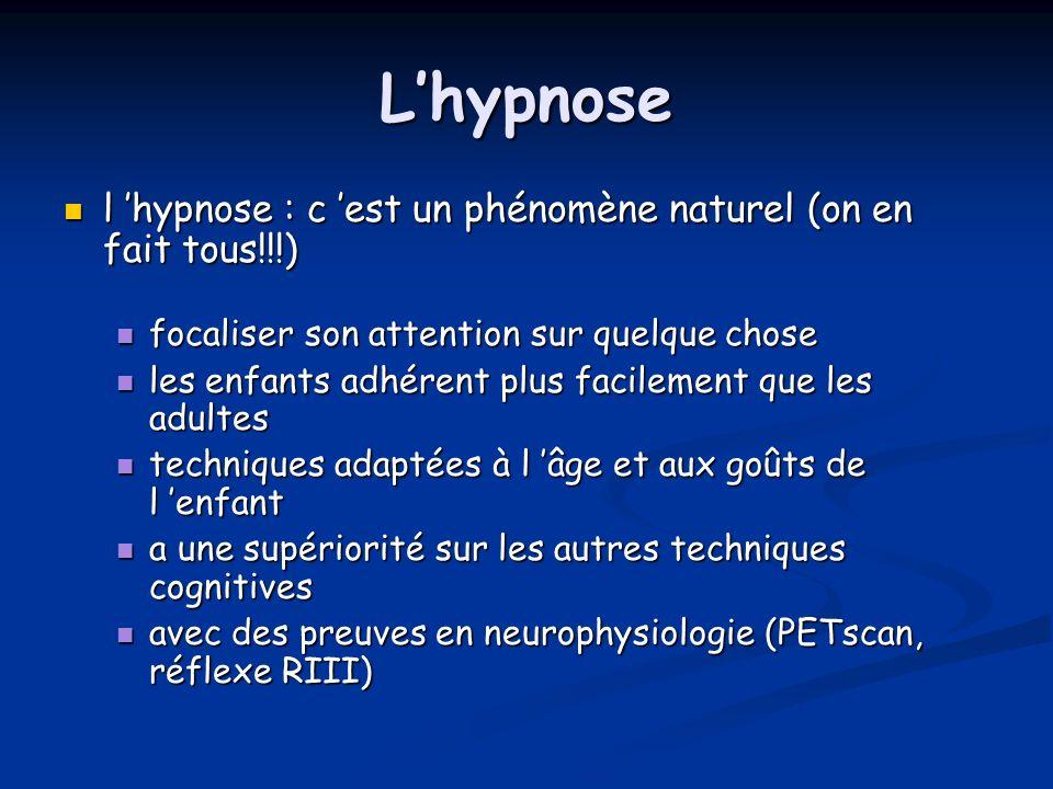 L'hypnose l 'hypnose : c 'est un phénomène naturel (on en fait tous!!!) focaliser son attention sur quelque chose.