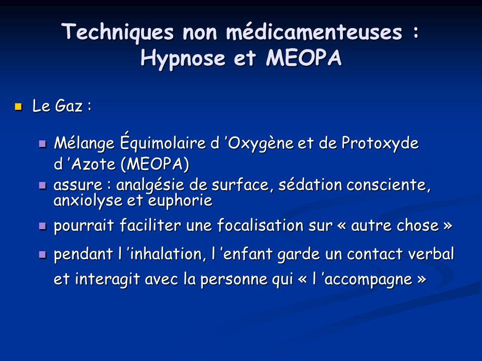 Techniques non médicamenteuses : Hypnose et MEOPA