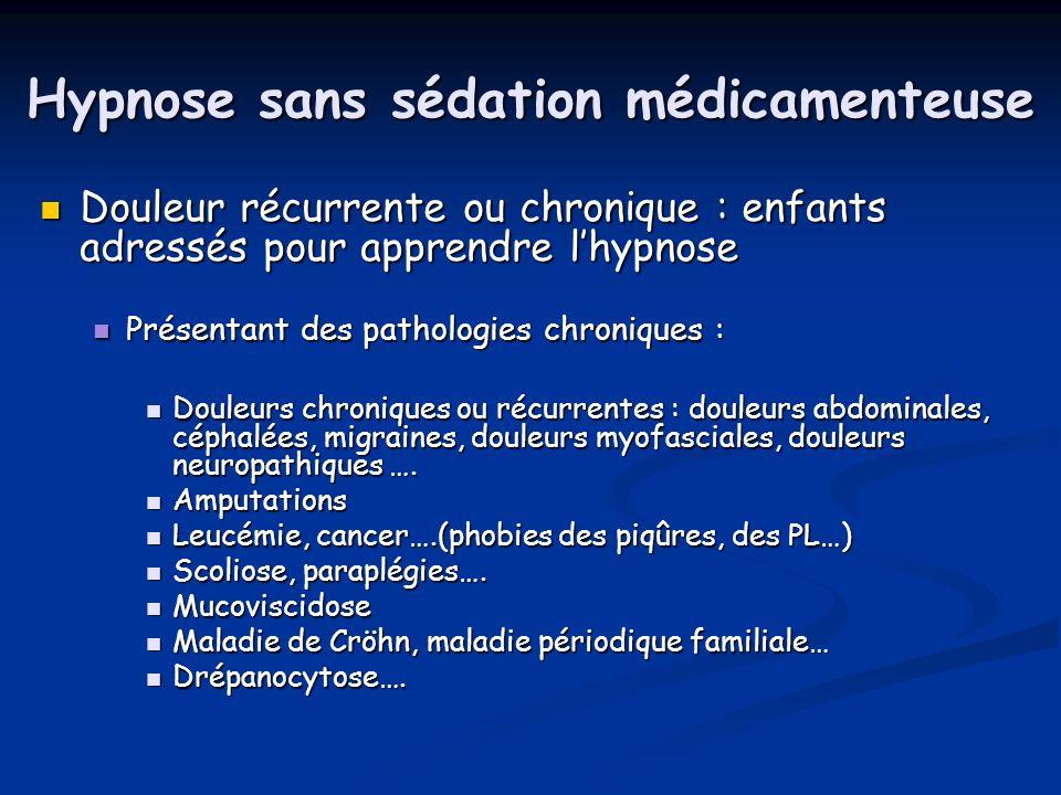 Hypnose sans sédation médicamenteuse