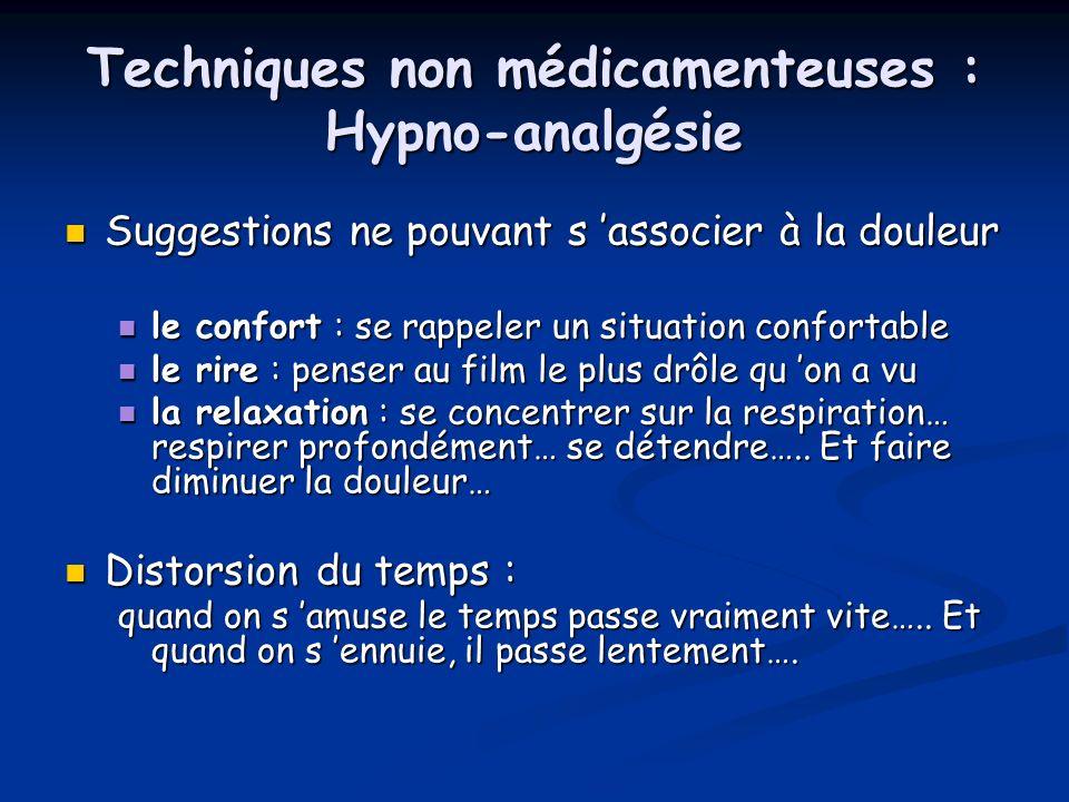 Techniques non médicamenteuses : Hypno-analgésie
