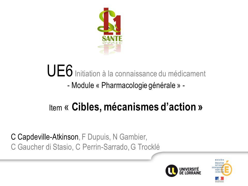 UE6 Initiation à la connaissance du médicament - Module « Pharmacologie générale » - Item « Cibles, mécanismes d'action »