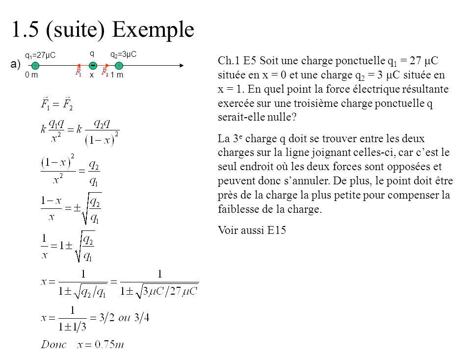 1.5 (suite) Exemple q1=27μC. q. q2=3μC.