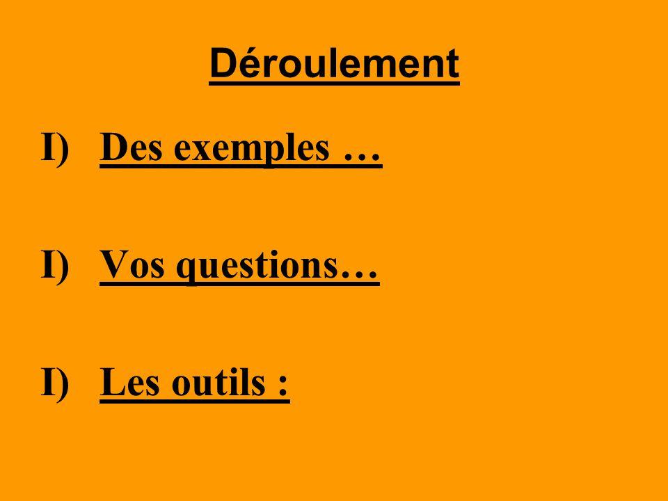 Déroulement Des exemples … Vos questions… Les outils :
