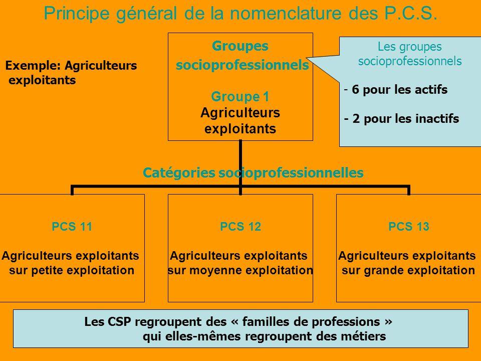 Principe général de la nomenclature des P.C.S.