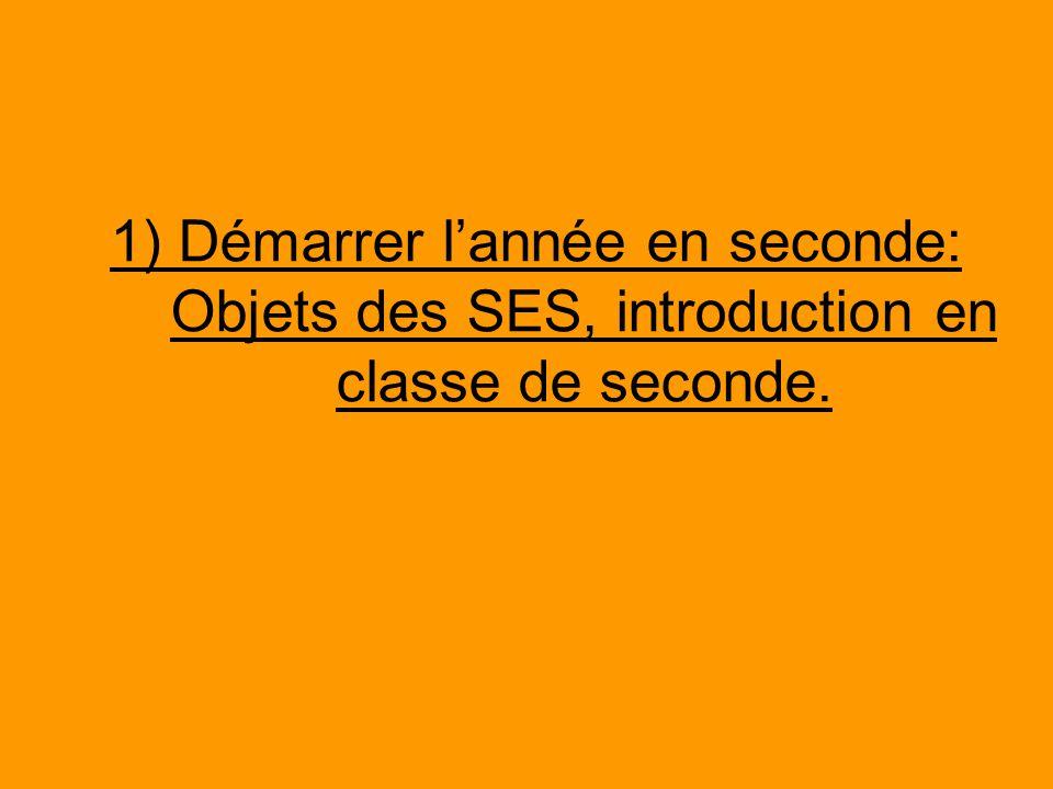 1) Démarrer l'année en seconde: Objets des SES, introduction en classe de seconde.