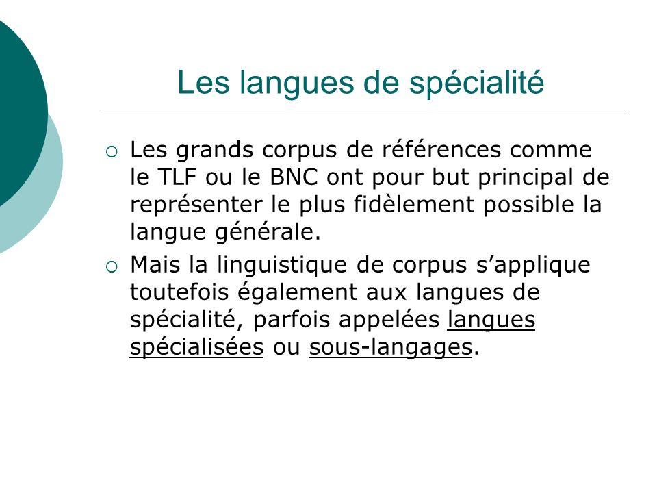 Les langues de spécialité