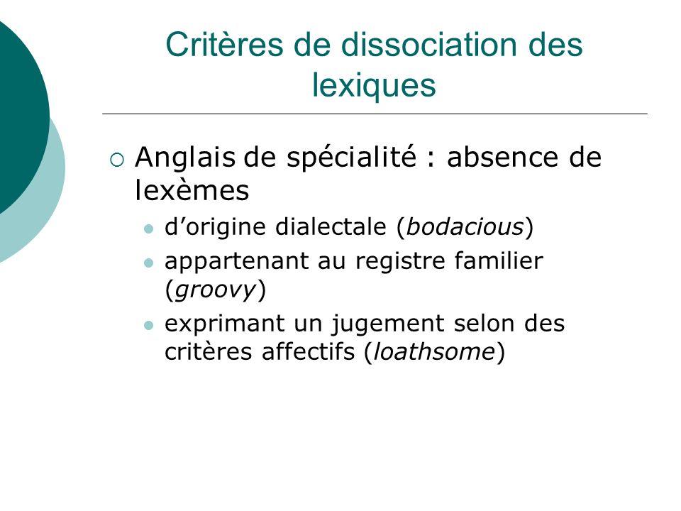 Critères de dissociation des lexiques
