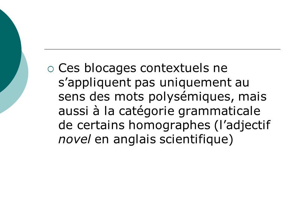Ces blocages contextuels ne s'appliquent pas uniquement au sens des mots polysémiques, mais aussi à la catégorie grammaticale de certains homographes (l'adjectif novel en anglais scientifique)