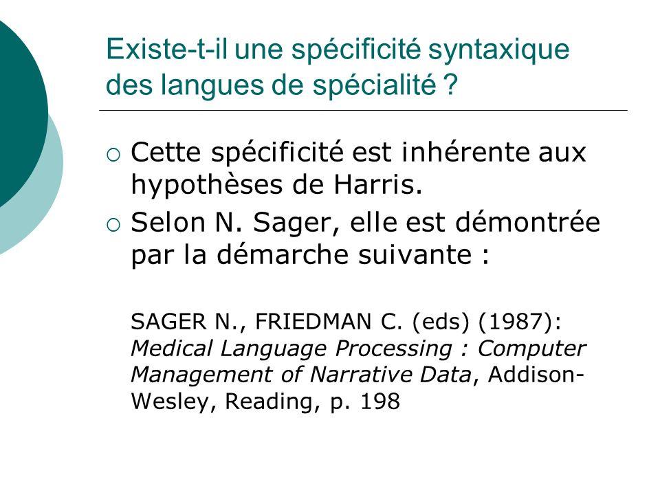 Existe-t-il une spécificité syntaxique des langues de spécialité