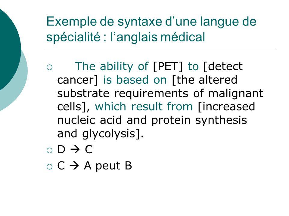 Exemple de syntaxe d'une langue de spécialité : l'anglais médical