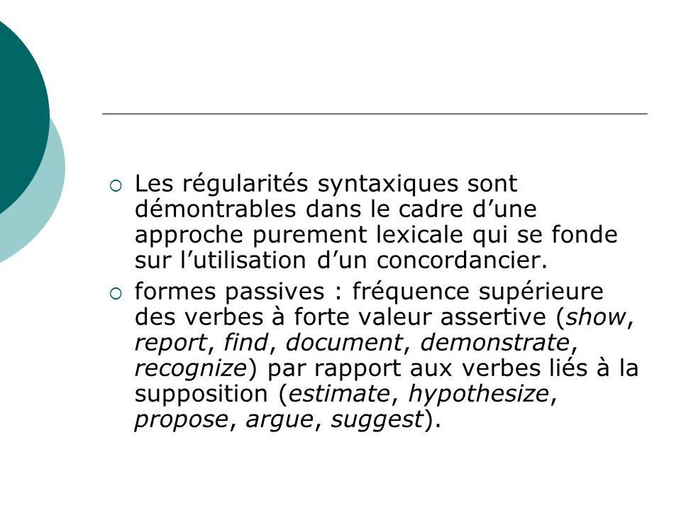 Les régularités syntaxiques sont démontrables dans le cadre d'une approche purement lexicale qui se fonde sur l'utilisation d'un concordancier.