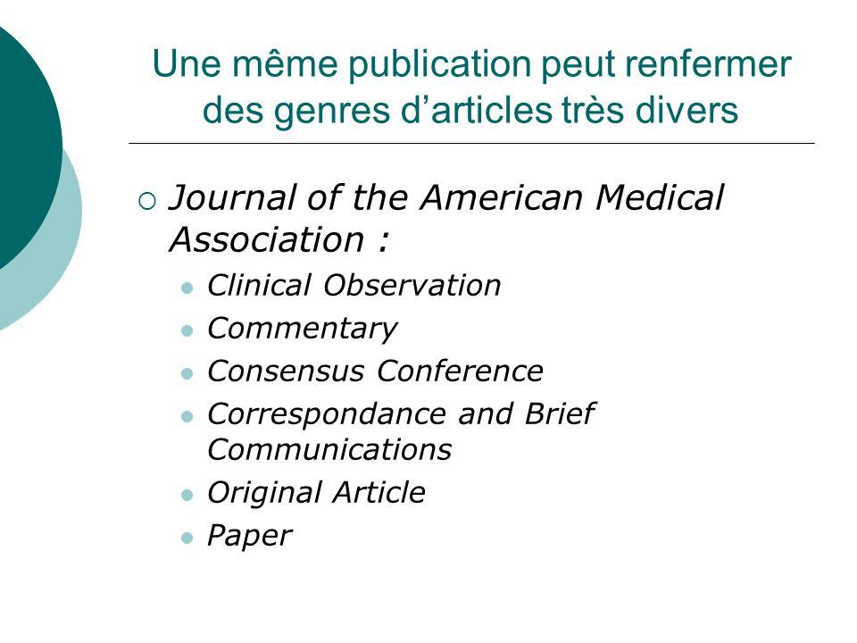 Une même publication peut renfermer des genres d'articles très divers