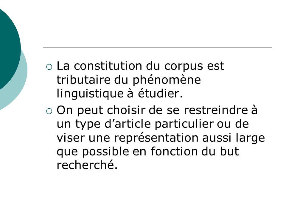 La constitution du corpus est tributaire du phénomène linguistique à étudier.