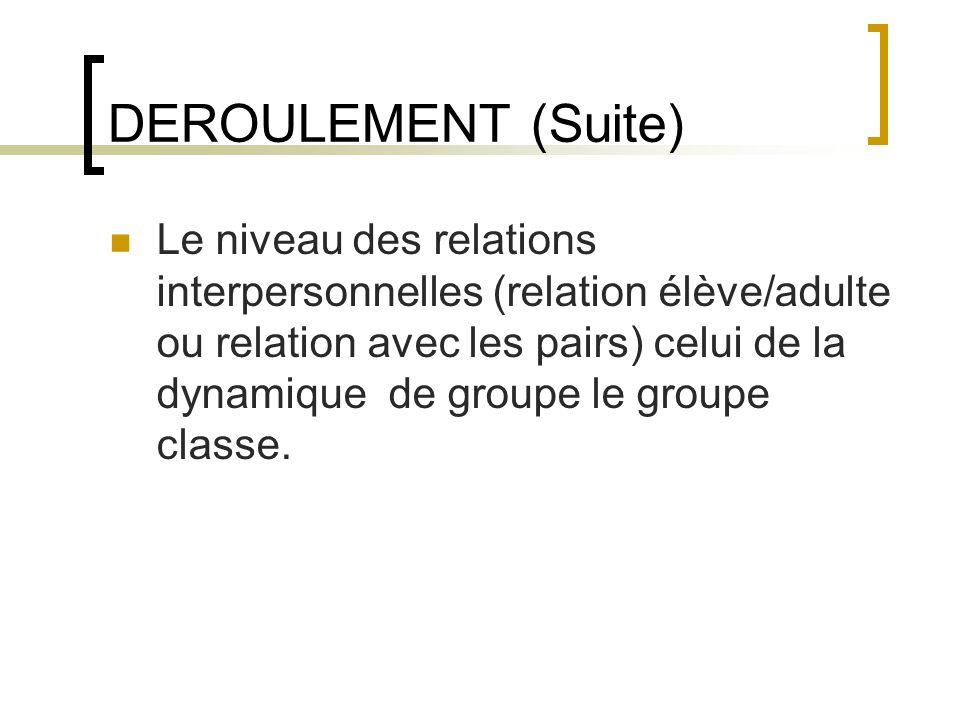 DEROULEMENT (Suite)