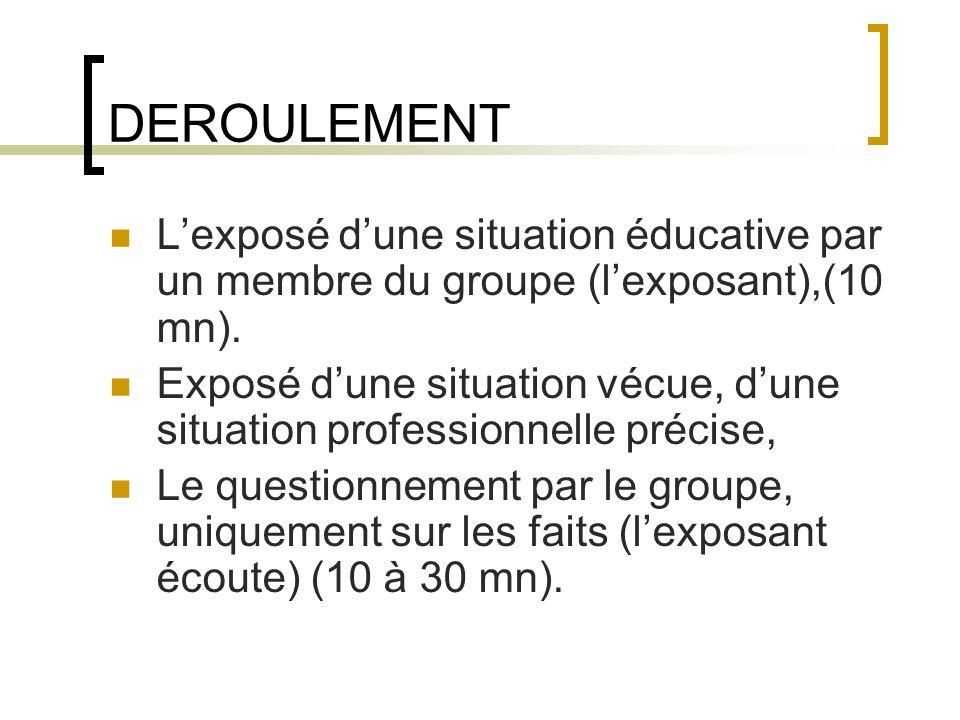 DEROULEMENT L'exposé d'une situation éducative par un membre du groupe (l'exposant),(10 mn).