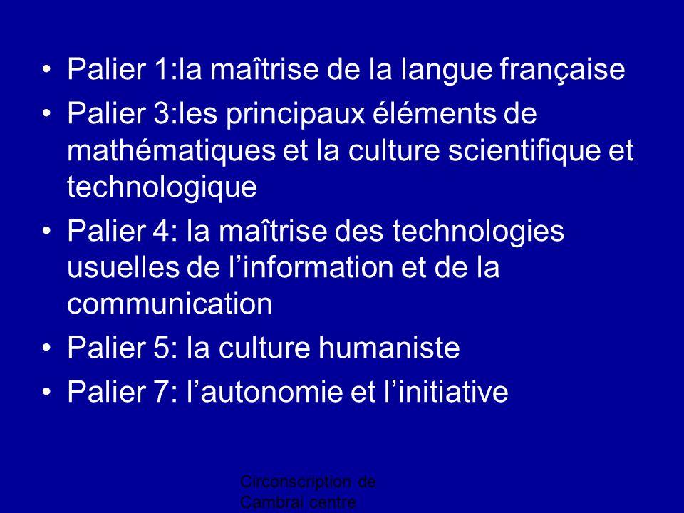 Palier 1:la maîtrise de la langue française