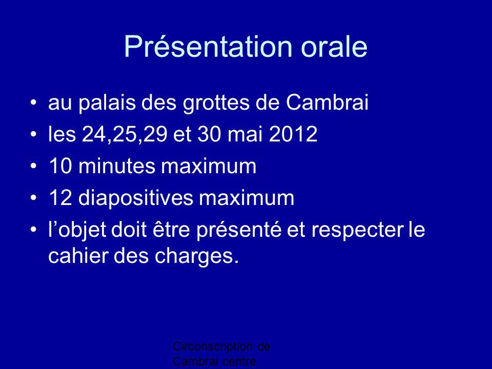 Présentation orale au palais des grottes de Cambrai