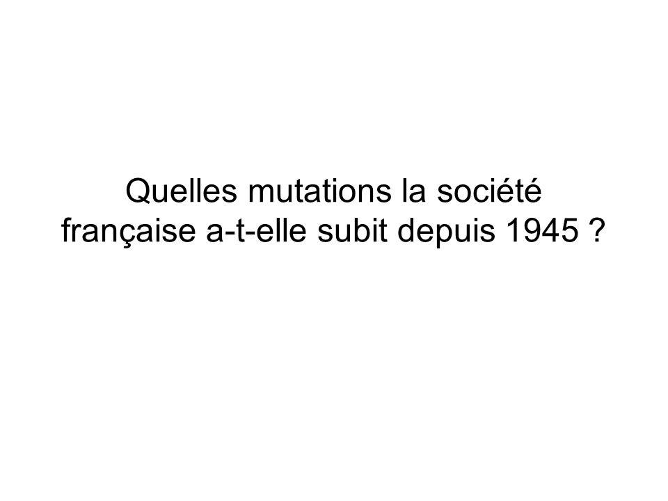 Quelles mutations la société française a-t-elle subit depuis 1945