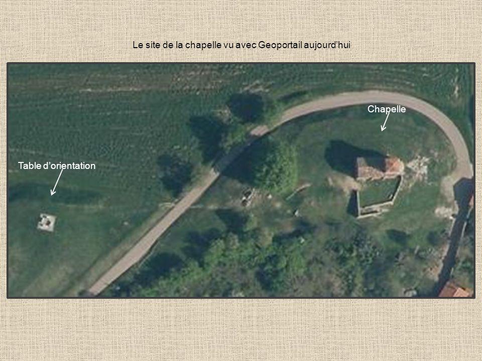 Le site de la chapelle vu avec Geoportail aujourd'hui