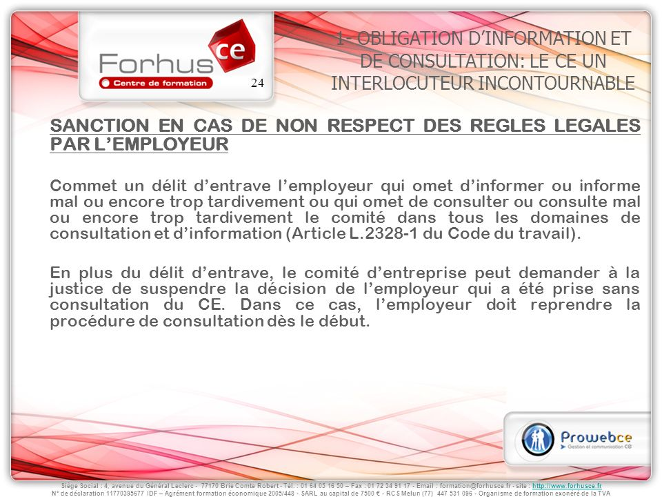 SANCTION EN CAS DE NON RESPECT DES REGLES LEGALES PAR L'EMPLOYEUR