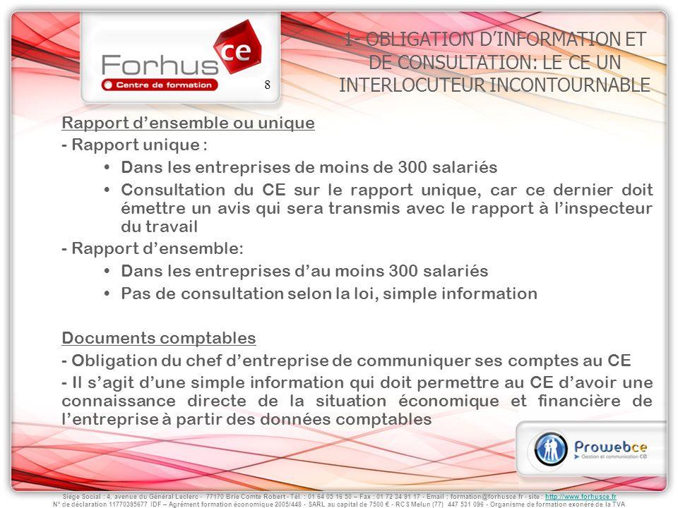 1- OBLIGATION D'INFORMATION ET DE CONSULTATION: LE CE UN INTERLOCUTEUR INCONTOURNABLE