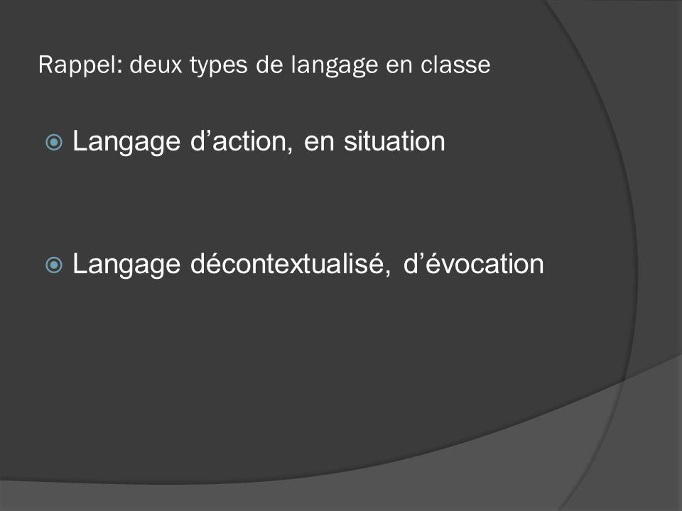 Rappel: deux types de langage en classe