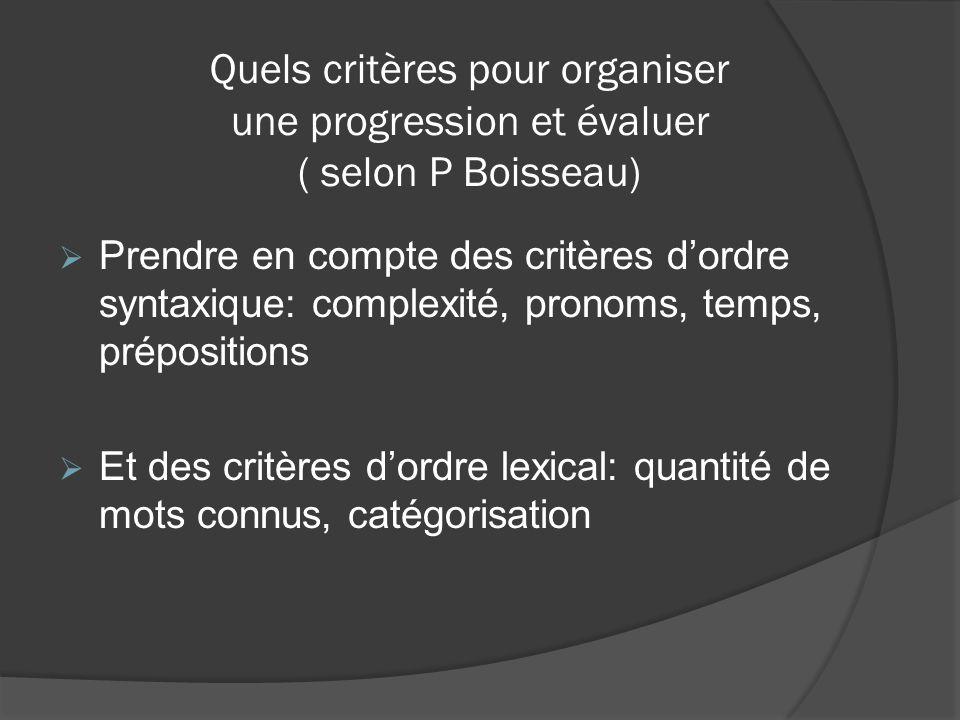 Quels critères pour organiser une progression et évaluer ( selon P Boisseau)