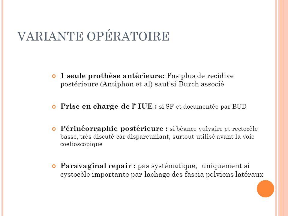 VARIANTE OPÉRATOIRE 1 seule prothèse antérieure: Pas plus de recidive postérieure (Antiphon et al) sauf si Burch associé.