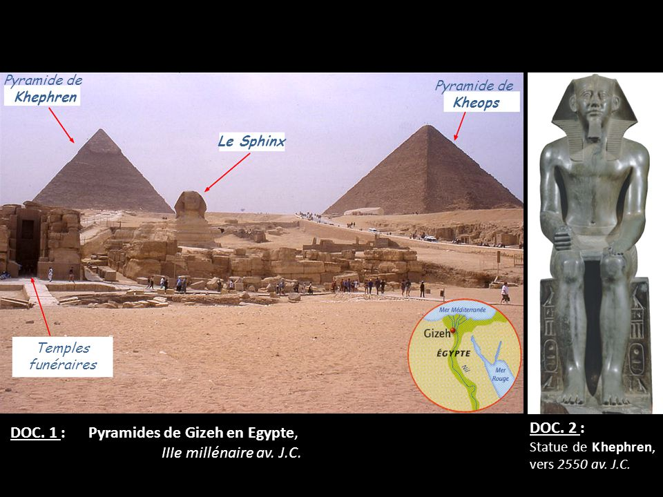 DOC. 1 : Pyramides de Gizeh en Egypte, IIIe millénaire av. J.C.
