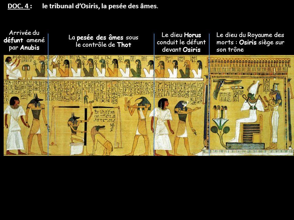 DOC. 4 : le tribunal d'Osiris, la pesée des âmes.