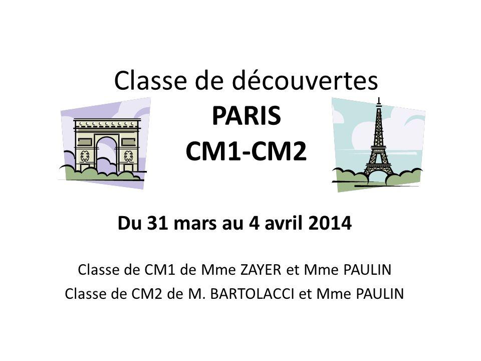 Classe de découvertes PARIS CM1-CM2