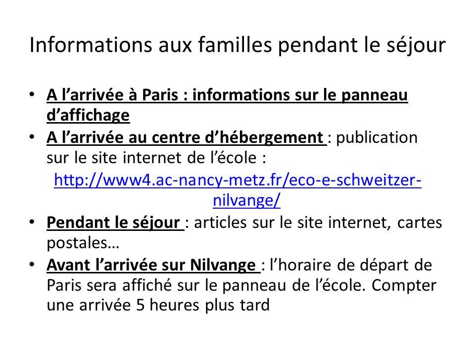 Informations aux familles pendant le séjour