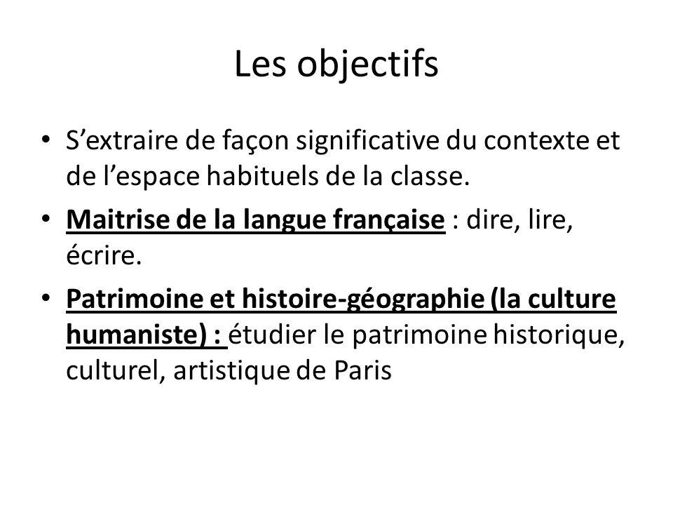 Les objectifs S'extraire de façon significative du contexte et de l'espace habituels de la classe.