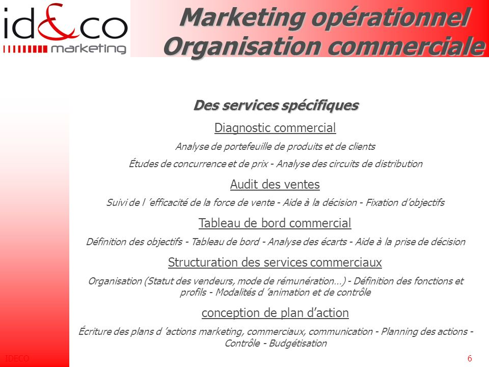 Marketing opérationnel Organisation commerciale