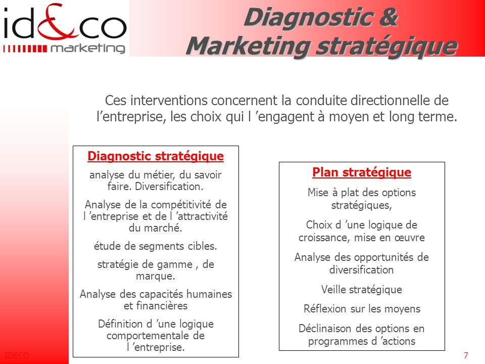 Diagnostic & Marketing stratégique