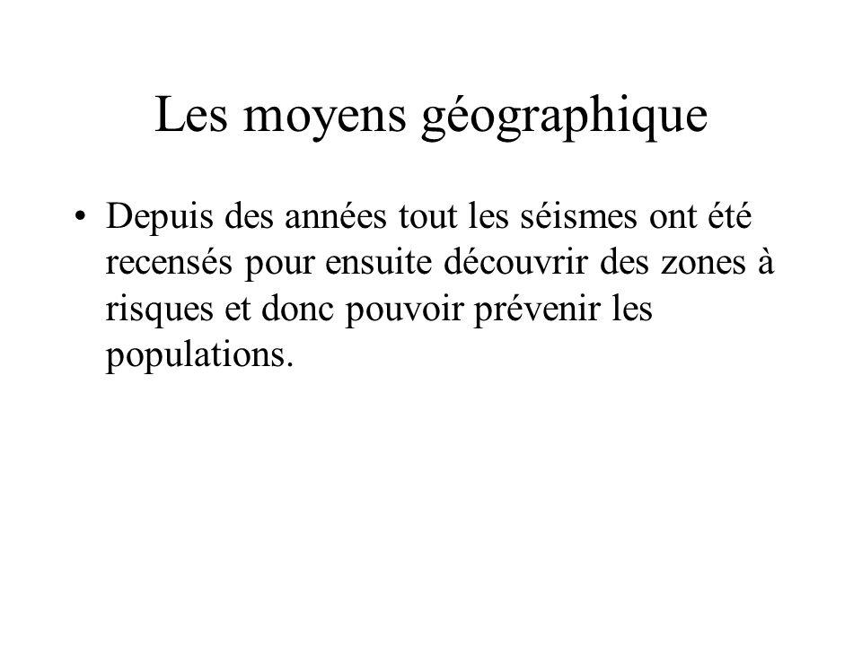 Les moyens géographique