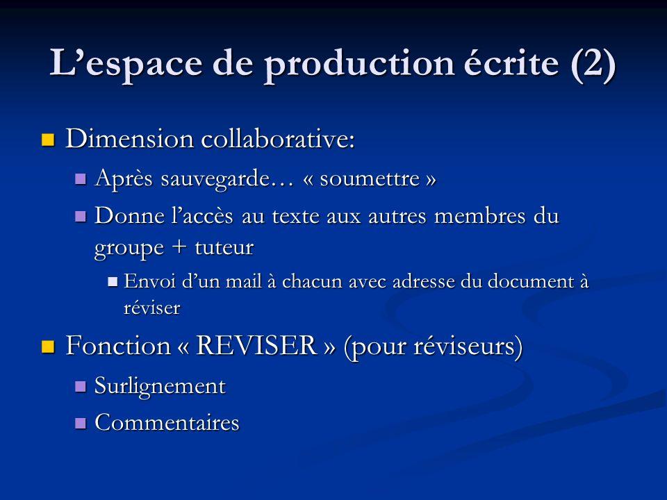 L'espace de production écrite (2)