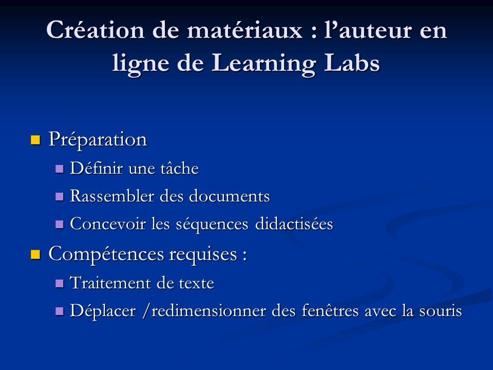 Création de matériaux : l'auteur en ligne de Learning Labs