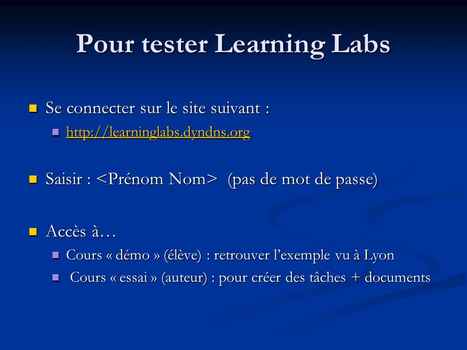 Pour tester Learning Labs