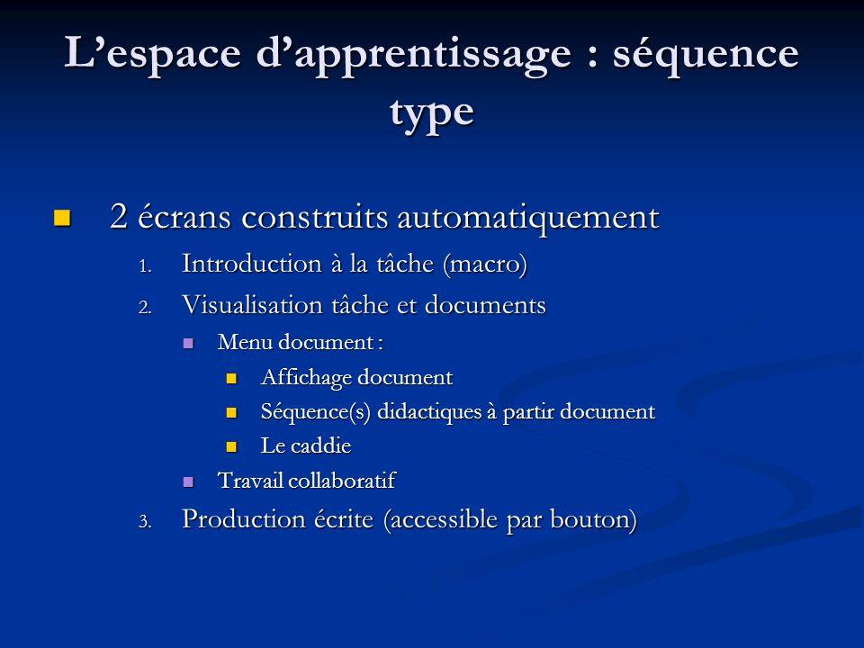 L'espace d'apprentissage : séquence type